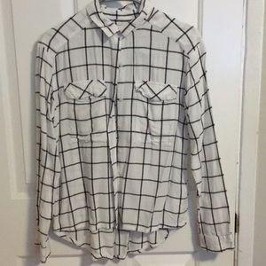 White/ gray flannel